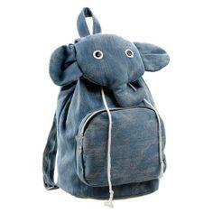 Unisex Cartoon Elephant Casual Canvas Shoulders Bag Backpack Schoolbag Bookbag