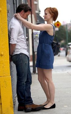 James McAvoy & Jessica Chastain filming 'The Disappearance of Eleanor Rigby' on Friday, July 13.