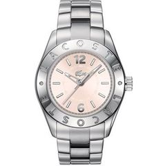 Lacoste Biarritz Pink Dial Ladies Watch 2000713 Lacoste. $163.94. Quartz Movement. Pink 37.5mm Dial. Stainless Steel Case and Band. Water Resistant 30 Meters. Women's Watch from Lacoste's 2012 Fall/Winter Collection