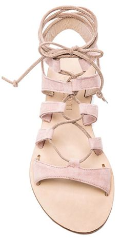 pink leather gladiator sandals