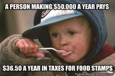 """I get there are people who do abuse the system and they should be dealt with, but a lot of people need to stop acting like they pay sooooo much money out of their own pockets for supposed """"moochers"""" The majority of that small percent one dose contribute, actually dose go to those really in need..."""