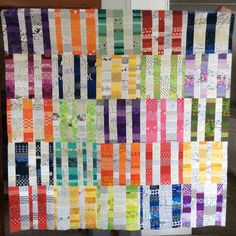 """Laura VanVleet on Instagram: """"Not sure what to name this one.... created by Hive 7 at Stash Bee #stashbee2017 #hive7"""" Rainbow Blocks, Bee, Names, Quilts, Blanket, Create, Instagram, Honey Bees, Quilt Sets"""