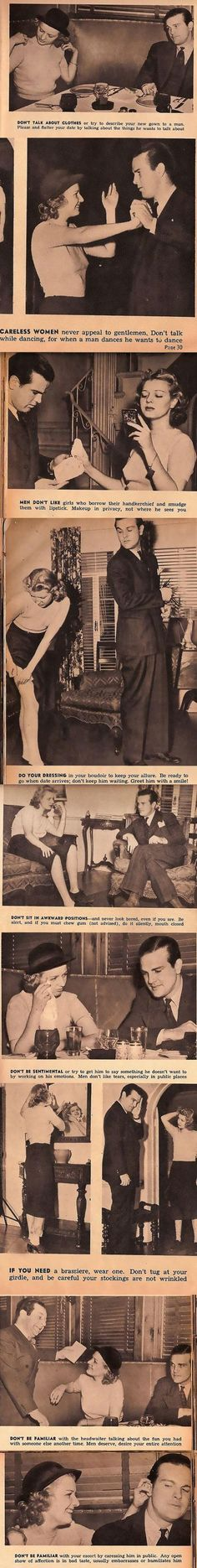 Sign o' the times (1930's dating advice)