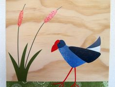 Pukeko print on plywood