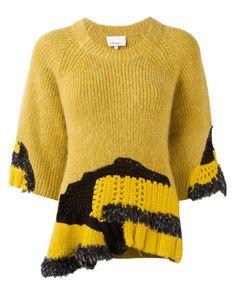 Phillip Lim Hand Knit Wool Blend Sweater In Yellow Crochet Jumper, Hand Crochet, Hand Knitting, Crochet Top, Knitwear Fashion, Knit Fashion, Angora, Knitting Designs, Yellow Sweater