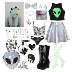 """""""Pastel Goth #22"""" by godfidence ❤ liked on Polyvore featuring Hot Topic, Disturbia, Trixy Starr, Manic Panic NYC and Honeydew Intimates"""