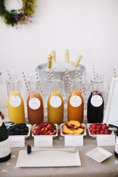 mimosa bar- love this idea! Different juices w/ fruit garnish I did this for a picnic brunch in the park . I bought a pink ice bucket and pink baskets for the fruit. So fun