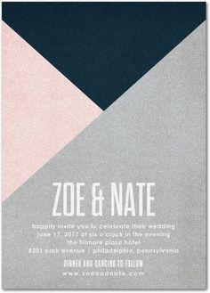 Krafty Angles - Shimmer Wedding Invitations - Magnolia Press - Daiquiri - Pink : Front