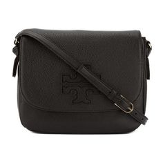 Pre-Owned Tory Burch Black Leather Harper Messenger Bag (565 CAD) ❤ liked on Polyvore featuring bags, messenger bags, black, genuine leather bags, leather messenger bag, genuine leather messenger bag and leather flap bag