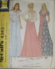 VTG 70s McCalls BOHO HIPPIE Misses Blouse Skirt Pattern 4343 s12 UC