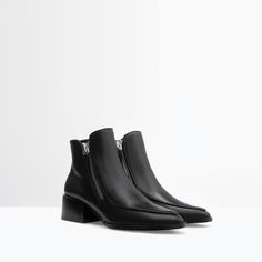 LEATHER ANKLE BOOT WITH ZIP from Zara: I may look for these while I'm in Spain for Christmas