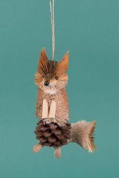 Buri Fox Decoration with a Pinecone Body