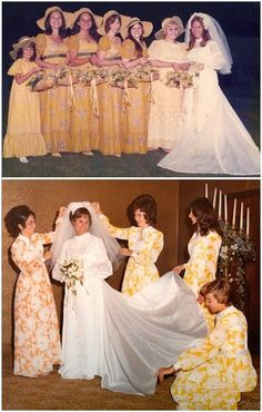 Future mother in-law's contribution to Rebecca's wedding. Ugly bridesmaid dresses in the and bright yellows and bold patterns Vintage Wedding Photos, Vintage Bridal, Wedding Pics, Wedding Styles, Vintage Weddings, 1970s Wedding, Wedding Fail, Wedding Colors, Wedding Stuff