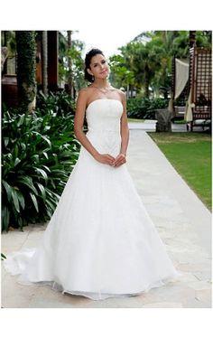 A-line Strapless Court Train Organza Wedding Dress