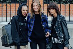 Hoodies and plaid and leather motos.  London.