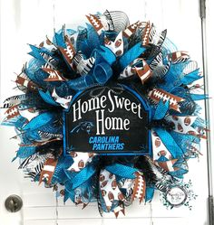 Carolina Panthers Deco Mesh Wreath - Home Sweet Home - Carolina Panthers Wreath - NFL Wreath - Panthers Wreath - Panthers Door Wreath by WreathsEtcbyLisa on Etsy https://www.etsy.com/listing/262807468/carolina-panthers-deco-mesh-wreath-home