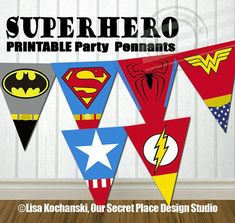INSTANT DOWNLOAD Printable Superhero Party Banner Superhero Logo Symbols by OurSecretPlace