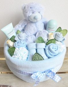 Baby Boy Nappy Cake Bouquet Arrangement by Say It Baby by janet Baby Gift Hampers, Baby Shower Gift Basket, Baby Hamper, Baby Shower Diapers, Girl Gift Baskets, Fiesta Baby Shower, Baby Shower Fun, Baby Shower Parties, Baby Showers