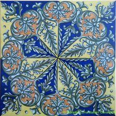 Deruta Italian Hand Painted Tile - Medieval Octal Acanthus Interleave - Blue, Yellow, Orange - 12 in x 12 in (30cm x 30cm)