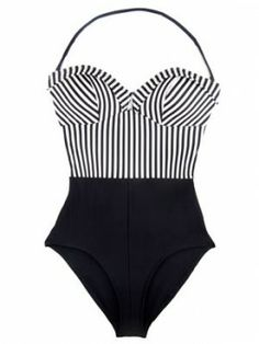 Retro black and white swimsuit. With a different print at the top!