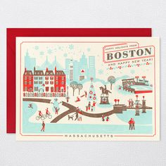 DETAILS      * paper weight:100 lb ecru 100% recycled paper     * dimensions:7×5     * designer: lab partners     * inside greeting:blank     * front greeting: happy holidays from boston and happy new year!