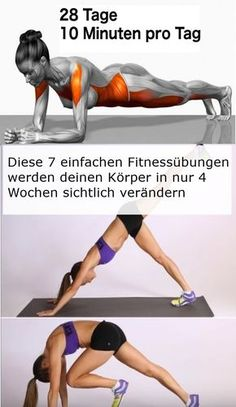 These 7 simple fitness exercises will make your body visible in just 4 weeks . - These 7 simple fitness exercises will visibly change your body in just 4 weeks - Fitness Workouts, Yoga Fitness, Fitness Motivation, Sport Fitness, Sport Motivation, Easy Workouts, Fitness Diet, Health Fitness, Workout Diet