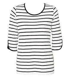 3/4 Sleeve Stripe Tee | Plus Size Clothing for Women Sizes 12 to 24 Womens Fashion Online Shopping | Maggie T