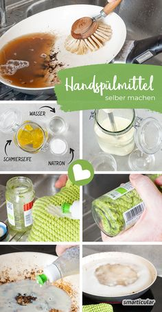 Effektives Spülmittel selber machen mit Schmierseife – für fettiges Geschirr Detergents themselves make against greasy and encrusted residues on pots, plates and pans: With soda and soft soap no problem! Beauty Makeup Tips, Diy Beauty, Diy Wallet, Diy Shampoo, Green Life, Mason Jar Diy, House Painting, At Home Workouts, Do It Yourself