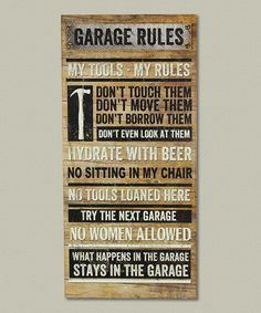 Another great find on #zulily! 'Garage Rules' Wall Sign #zulilyfinds