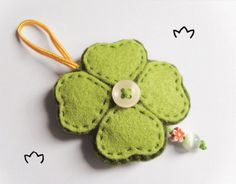 Felt clover ornament, good luck gift idea, four leaf clover home decor, good luck charm, St. Patrick's Day, made to order