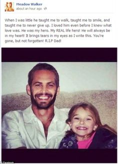 Paul Walker Wife and Daughter | My REAL life hero!' Paul Walker's daughter Meadow has left a touching ...