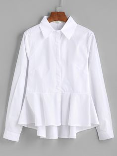 Shop White Ruffle Peplum High Low Blouse online. SheIn offers White Ruffle Peplum High Low Blouse & more to fit your fashionable needs.