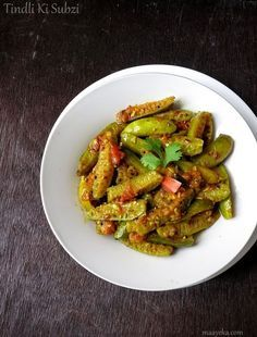 Tendli Ki Subzi,Kudru Recipe Stir fried Ivy gourd with mild Indian spices