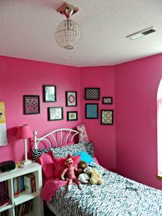 Hot pink and zebra tween room