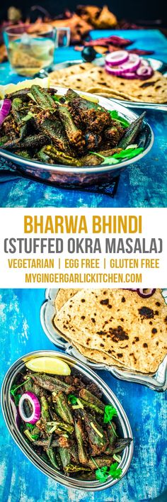 Bharwa Bhindi is a very crowd-pleasing and delicious Indian vegetarian side dish which is made with Bhindi (aka Okra or Lady Finger), which is stuffed with a tangy and spicy, powdered masala filling. This is a vegan and gluten-free dish which goes really well with any kind of roti, paratha or puri. From: mygingergarlickitchen.com #Sabji #Vegan #Vegetarian #Glutenfree #Sidedish #Okra #Lady'sfinger #Curry #Spicy