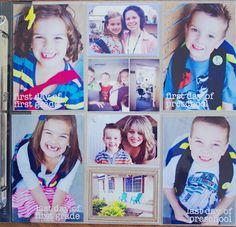 love her idea first day of school photo and last day of school photo on the same project life page