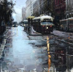 Market Trolley in the Rain II, Oil on Panel, 20x20, Private Collection Jacob Dhein