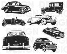 vintage car svg retro car svg old car svg cars svg bundle muscle car svg stencil svg antique car svg dxf eps files silhouette Vintage Sports Cars, Vintage Cars, Antique Cars, Auto Retro, Retro Cars, Car Symbols, Car Silhouette, Car Vector, Vector Graphics