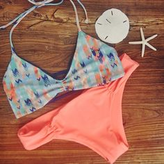 L*Space Arrows Strap Back Top & Elecric Coral Monique Bottoms