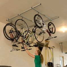 Bicycle storageToronto bicycle storage for garage Bike storage condo Garage Organization, Garage Storage, Bike Storage Garage Ceiling, Bike Racks For Garage, Organized Garage, Organizing Tips, Organization Ideas, Bike Storage Options, Rack Velo