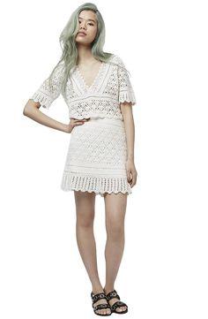 Alternate Image 2 - Topshop V-Neck Crochet Top Crochet Skirts, Crochet Crop Top, Crochet Blouse, Crochet Clothes, Crochet Outfits, Crochet Tops, Dress Skirt, Peplum Dress, Blusas Top