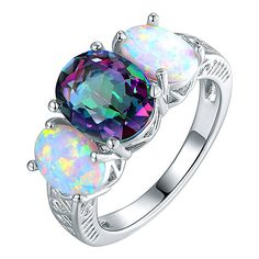 Peermont Mystic Topaz & Opal Three Stone Ring ($20) ❤ liked on Polyvore featuring jewelry, rings, opal jewellery, oval three stone ring, opal jewelry, 3 stone oval ring and three stone ring