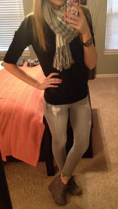 #express gray jeggings #charlotterusse booties #target sweater #forever21 scarf