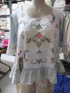 RESERVED for LYN.... Vintage Kitty.. French Market Tunic. ,ticking, embroidery, over size, vintage linen, roses, lace, crochet, ooak  Lge/xl