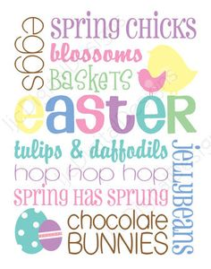 Printable Easter White Pastel Digital Subway Art Word Art Typography Decoration 11x14 and 8x10