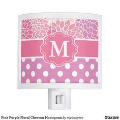 Pink Purple Floral Chevron Monogram Night Light