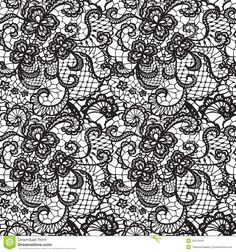 White Lace Background   Lace black seamless pattern with flowers on white background.