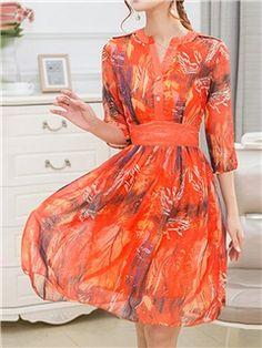 ericdress v - cuello de gasa de la impresión del vestido ocasional