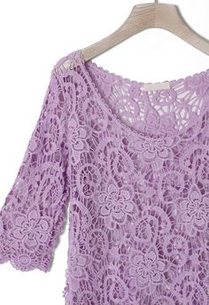 #Chicwish Purple Floral Mid-Sleeves Crochet Top - New Arrivals - Retro, Indie and Unique Fashion