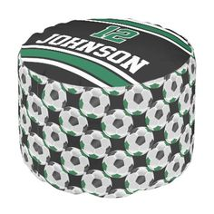 Soccer Dark Green Black and White Sport Pattern Pouf Dorm Pillows, Large Furniture, Soccer, Black And White, Dark, Outdoor Decor, Green, Sports, Pattern